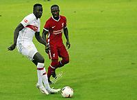 22nd August 2020; Saalfelden, Austria; Pres-season football friendly, Liverpool versus Stuttgart;  Silas Wamangituka VfB Stuttgart shields the ball from Naby Keita FC Liverpool