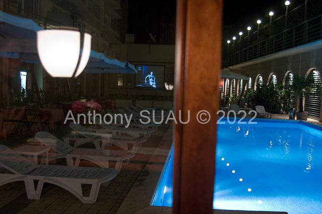 Odessa , Ukraine.August 22, 2005 ..Hotel restaurant near the pool.