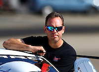 Nov 9, 2013; Pomona, CA, USA; NHRA pro stock driver Jason Line during qualifying for the Auto Club Finals at Auto Club Raceway at Pomona. Mandatory Credit: Mark J. Rebilas-