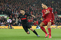 Atletico Madrid's Angel Correa vies for possession with Liverpool's Virgil van Dijk<br /> <br /> Photographer Rich Linley/CameraSport<br /> <br /> UEFA Champions League Round of 16 Second Leg - Liverpool v Atletico Madrid - Wednesday 11th March 2020 - Anfield - Liverpool<br />  <br /> World Copyright © 2020 CameraSport. All rights reserved. 43 Linden Ave. Countesthorpe. Leicester. England. LE8 5PG - Tel: +44 (0) 116 277 4147 - admin@camerasport.com - www.camerasport.com