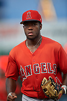Second baseman Julio De La Cruz (44), of the AZL Angels, jogs off the field between innings of an Arizona League game against the AZL Padres 1 on August 5, 2019 at Tempe Diablo Stadium in Tempe, Arizona. AZL Padres 1 defeated the AZL Angels 5-0. (Zachary Lucy/Four Seam Images)