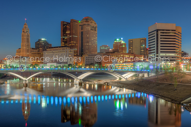 The sky lightens over the skyline during morning twilight in Columbus, Ohio.