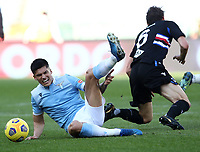 Football, Serie A: S.S. Lazio - Sampdoria, Olympic stadium, Rome, February 20, 2020. <br /> Lazio's Joaquin Correa (l) in action with Sampdoria's Albin Ekdal (r) during the Italian Serie A football match between S.S. Lazio and Sampdoria at Rome's Olympic stadium, Rome, on February 20, 2021.  <br /> UPDATE IMAGES PRESS/Isabella Bonotto