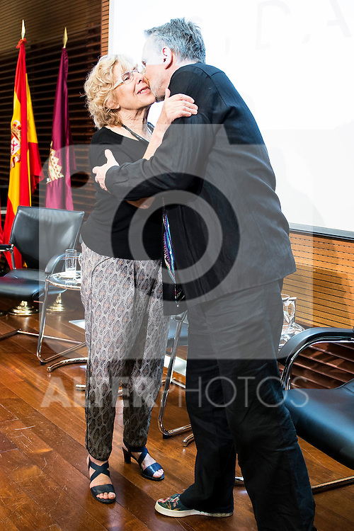 Madrid Mayor Manuela Carmena and singer Miguel Bose during the presentation of the 7th edition of Gala Sida for his first time in Madrid. June 21, 2016. (ALTERPHOTOS/BorjaB.Hojas)