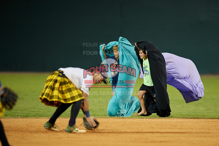 Savannah Bananas on field promotion during a Coastal Plain League game against the Macon Bacon on July 15, 2020 at Grayson Stadium in Savannah, Georgia.  (Mike Janes/Four Seam Images)