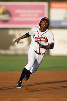 Cristian Pache (15) of the Danville Braves hustles towards third base against the Pulaski Yankees at American Legion Post 325 Field on August 1, 2016 in Danville, Virginia.  The Yankees defeated the Braves 4-1.  (Brian Westerholt/Four Seam Images)