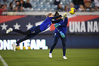 JACKSONVILLE, FL - NOVEMBER 10: United States goalkeepers Ashlyn Harris #18 and Adrianna Franch #21 warming up during a game between Costa Rica and USWNT at TIAA Bank Field on November 10, 2019 in Jacksonville, Florida.