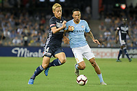 Melbourne, February 23, 2019 - Former Japanese International player Keisuke Honda (4) of Melbourne Victory in action in the round 20 match of the A-League between Melbourne Victory and Melbourne City at Marvel Stadium, Melbourne, Australia.