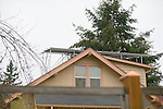 Solar Panels on Roof of Peach Home