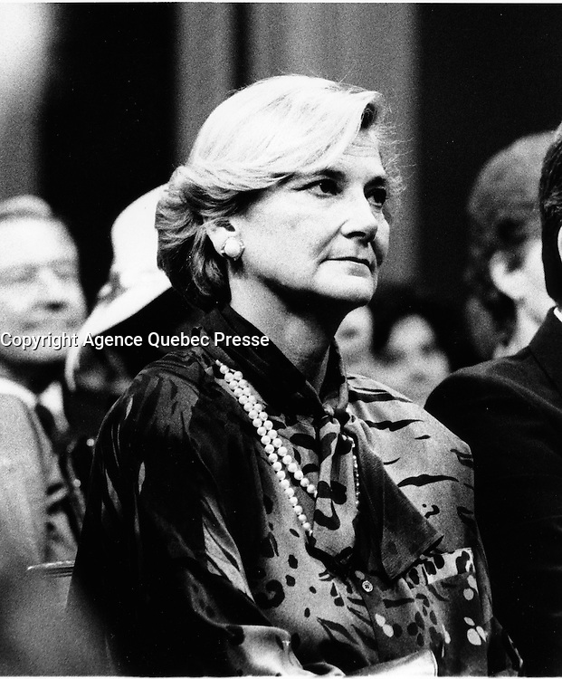 Quebec (QC) CANADA file photo -<br /> Dec 12 1985, Presentation of the new Robert Bourassa's Liberal Government at the National Assembly Salon Rouge. In photo : Andrée Simard,,Robert Bourassa's wife