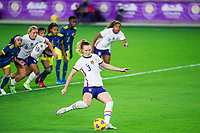 ORLANDO, FL - JANUARY 18: Samantha Mewis #3 of the USWNT kicks the ball during a game between Colombia and USWNT at Exploria Stadium on January 18, 2021 in Orlando, Florida.