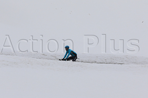 24th May 2021, Giau Pass, Italy; Giro d'Italia, Tour of Italy, route stage 16, Sacile to Cortina d'Ampezzo ; A cyclist drives uphill in the snow