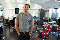 "Moscow, Russia, 08/03/2011..Azerbaijani rock singer Emin Agalarov in the rehearsal area of his rooftop Moscow apartment. Agalarov has released 5 albums, and his first UK album ""Memory"" is due for release. He is also the commercial director of the Crocus International company, founded by his father."