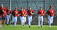 19 February 2011: Pitchers and catchers of the Washington Nationals warm up with morning exercises prior to working on Spring Training drills at the Carl Barger Baseball Complex in Viera, Florida. Mandatory Credit: Ed Wolfstein Photo