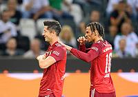 jubilation Robert LEWANDOWSKI (M) after his goal to 1: 1, with Leroy SANE r. (M) Soccer 1. Bundesliga, 1st matchday, Borussia Monchengladbach (MG) - FC Bayern Munich (M) 1: 1, on August 13, 2021 in Borussia Monchengladbach / Germany. #DFL regulations prohibit any use of photographs as image sequences and / or quasi-video # Â