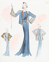 BNPS.co.uk (01202 558833)<br /> Pic: AuctionHub/BNPS<br /> <br /> Pictured: Spring 1930.<br /> <br /> A collection of fashion illustrations owned by Cecil Beaton have emerged for sale for £20,000.<br /> <br /> The drawings were given to the current seller, who has not been identified, by society and fashion photographer and costume designer Beaton as a thank you gift.<br /> <br /> Totalling over 500 designs from the 1920s and 30s, the illustrations have now been put up for auction with The Auction Hub, based in Westbury, Wiltshire.<br /> <br /> Cecil Beaton was an influential photographer, working for Vogue and Vanity Fair, as a war photographer, and taking society portraits of the Royal family and a host of celebrities.