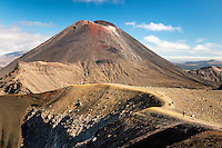 Views of Mount Ngaruhoe and Red Crater with hikers on Tongariro Alpine Crossing Track Tongariro National Park, Central Plateau, North Island, UNESCO World Heritage Area, New Zealand, NZ