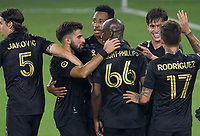 LOS ANGELES, CA - SEPTEMBER 13: Bradley Wright-Phillips #66 of the LAFC scores and celebrates with Diego Rossi #9 his LAFC team mates during a game between Portland Timbers and Los Angeles FC at Banc of California stadium on September 13, 2020 in Los Angeles, California.