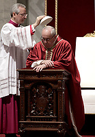 Pope Francis kneels as he celebrates the Good Friday Passion of Christ Mass inside St. Peter's Basilica, at the Vatican, Friday, March 30, 2018. <br /> UPDATE IMAGES PRESS/Isabella Bonotto<br /> <br /> STRICTLY ONLY FOR EDITORIAL USE