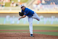 Durham Bulls starting pitcher Dietrich Ennis (32) in action against the Jacksonville Jumbo Shrimp at Durham Bulls Athletic Park on May 15, 2021 in Durham, North Carolina. (Brian Westerholt/Four Seam Images)