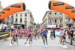 The leaders jerseys lined up for the start of Stage 4 of the 103rd edition of the Giro d'Italia 2020 running 140km from Catania to Villafranca Tirrena, Sicily, Italy. 6th October 2020.  <br /> Picture: LaPresse/Massimo Paolone   Cyclefile<br /> <br /> All photos usage must carry mandatory copyright credit (© Cyclefile   LaPresse/Massimo Paolone)