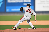 Aberdeen IronBirds starting pitcher Connor Gillispie (25) between innings during a game against the Asheville Tourists on June 15, 2021 at McCormick Field in Asheville, NC. (Tony Farlow/Four Seam Images)