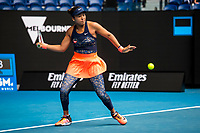 8th February 2021, Melbourne, Victoria, Australia;  Naomi Osaka of Japan returns the ball during round 1 of the 2021 Australian Open on February 8 2020