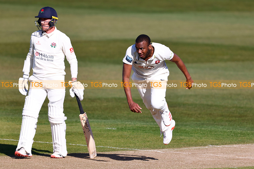Miguel Cummins bowls for Kent during Kent CCC vs Lancashire CCC, LV Insurance County Championship Group 3 Cricket at The Spitfire Ground on 22nd April 2021