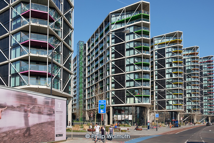 Riverlight Quay development in the 480 acre Nine Elms regeneration zone, London.  The zone will include two new tube stations, the new US Embassy building, and 20,000 new  homes with prices up to £9 million.