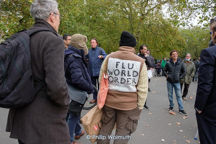 Flu World Order.  Speakers' Corner, Hyde Park, London during the Coronavirus pandemic.