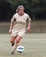 Boston College forward Stephanie McCaffrey (9) brings the ball forward. After two overtime periods, Boston College tied University of Central Florida, 2-2, at Newton Campus Field, September 9, 2012.