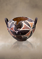 Minoan Kamares Ware with polychrome decorations , Phaistos 1900-1700 BC; Heraklion Archaeological  Museum.<br /> <br /> This style of pottery is named afetr Kamares cave where this style of pottery was first found