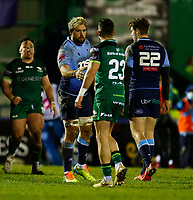 20th February 2021; Galway Sportsgrounds, Galway, Connacht, Ireland; Guinness Pro 14 Rugby, Connacht versus Cardiff Blues; Josh Turnbull (Cardiff Blues) congratulates Tiernan O'Halloran (Connach) at full time