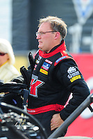 Nov. 13, 2011; Pomona, CA, USA; NHRA top fuel dragster driver Doug Kalitta during the Auto Club Finals at Auto Club Raceway at Pomona. Mandatory Credit: Mark J. Rebilas-.