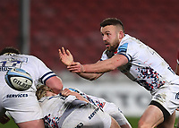 12th February 2021; Kingsholm Stadium, Gloucester, Gloucestershire, England; English Premiership Rugby, Gloucester versus Bristol Bears; Andy Uren of Bristol Bears passes from a ruck