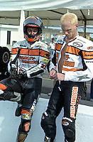 "Scott Russell, ""Mr. Daytona"", with is Harley Davidson before the Daytona 200, Daytona INternational Speedway, Daytona beach, FL, March 1999.  (Photo by Brian Cleary/www.bcpix.com)"