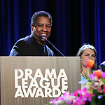 Denzel Washington and Bonnie Comley on stage during the 2018 Drama League Awards at the Marriot Marquis Times Square on May 18, 2018 in New York City.