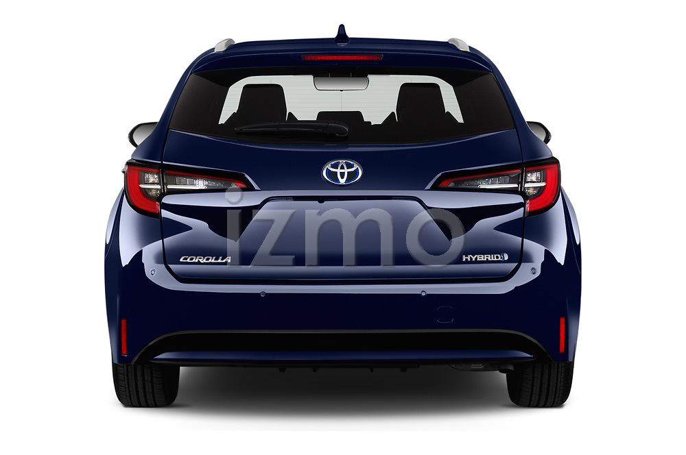Straight rear view of a 2019 Toyota Corolla Touring Sports Premium 5 Door Wagon stock images