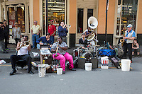 French Quarter, New Orleans, Louisiana.  Street Performers on Royal Street Play for Gratuities.