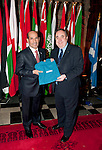First Minister Alex Salmond, First Minister of Scotland presents His Excellency Mr.Abdulrahman Al Mutaiwee (Embassy of United Arab Emirates with a gift following the dinner and reception held at Edinburgh Castle this evening..Pic Kenny Smith, Kenny Smith Photography.6 Bluebell Grove, Kelty, Fife, KY4 0GX .Tel 07809 450119,