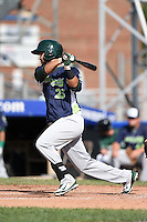 Vermont Lake Monsters second baseman Gabriel Santana (23) at bat during a game against the Jamestown Jammers on July 13, 2014 at Russell Diethrick Park in Jamestown, New York.  Jamestown defeated Vermont 6-2.  (Mike Janes/Four Seam Images)