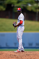 Reading Fightin Phils Franklyn Kilome (45) gets ready to deliver a pitch during the second game of a doubleheader against the Portland Sea Dogs on May 15, 2018 at FirstEnergy Stadium in Reading, Pennsylvania.  Reading defeated Portland 9-8.  (Mike Janes/Four Seam Images)