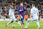 Sidnei Rechel da Silva Junior of RC Deportivo La Coruna (L) fights for the ball with Lionel Messi of FC Barcelona (C) during the La Liga 2017-18 match between FC Barcelona and Deportivo La Coruna at Camp Nou Stadium on 17 December 2017 in Barcelona, Spain. Photo by Vicens Gimenez / Power Sport Images