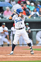 Southern Division shortstop Jose Gomez (4) of the Asheville Tourists awaits a pitch during the South Atlantic League All Star Game at Spirit Communications Park on June 20, 2017 in Columbia, South Carolina. The game ended in a tie 3-3 after seven innings. (Tony Farlow/Four Seam Images)