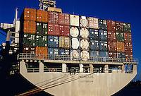 Container ship at the Port of Miami, Florida. Miami, Florida.