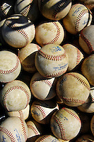 12 July 2007: Baseballs lie ready prior to a game between the Vermont Lake Monsters and the Mahoning Valley Scrappers at Historic Centennial Field in Burlington, Vermont. The Scrappers defeated the Lake Monsters 11-2 in the first game of their NY Penn-League double-header...Mandatory Photo Credit: Ed Wolfstein Photo