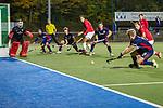 Mannheim, Germany, October 28: During the 1. Bundesliga men fieldhockey match between Mannheimer HC (blue) and TSV Mannheim (red) on October 28, 2020 at Am Neckarkanal in Mannheim, Germany. Final score 7-0 (HT 4-0). (Copyright Dirk Markgraf / www.265-images.com) *** Linus Mueller #10 of Mannheimer HC