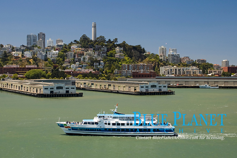 """ferry boat, Golden Gate Ferry """" Sonoma """", with wharves and Coit Tower on Telegraph HIll, San Francisco, California, USA, Pacific Ocean"""