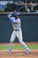 Burlington Royals Raymond Lopez (15) bats during a game with the Bristol Pirates at Boyce Cox Field on June 19, 2019 in Bristol, Virginia. The Royals defeated the Pirates 1-0. (Tracy Proffitt/Four Seam Images)