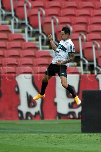 8th November 2020; Beira-Rio Stadium, Porto Alegre, Brazil; Brazilian Serie A, Internacional versus Coritiba; Giovanni Augusto of Coritiba celebrates his goal in the 49th minute for 1-1
